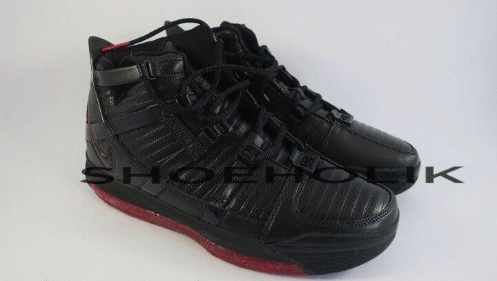 DS NEW Original 2018 Nike Zoom Lebron 3 III Black Crimson BRED - Sz 9 312147-004
