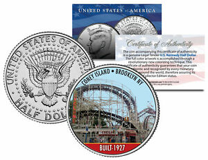 CONEY-ISLAND-CYCLONE-Roller-Coaster-Colorized-JFK-Half-Dollar-Coin-BROOKLYN-NY