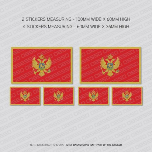 6 X Bandera De Montenegro Calcomanías Pegatinas de vinilo coche furgoneta ventana-SKU5505