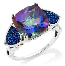 "Orvieto Silver Odyssey Universe Blue Quartz and Drusy ""Trilogy"" Ring Size 6"