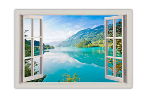 Blue-Lake-Mountains-and-Forests-Window-Bay-View-Poster-Print-Wall-Art-Decoration