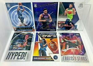 Karl-Anthony Towns 6 Card Lot 2019-20 Mosaic, Prizm, Optic Inserts & Donruss