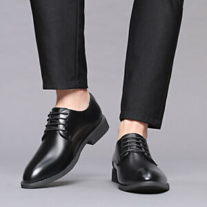 Men-039-s-Lace-Up-Oxfords-Low-Heel-Pointed-Toe-Business-Formal-Dress-Shoes-Plus-Size