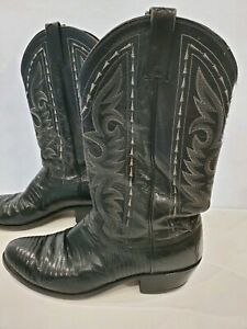 9058ed85474 Details about Vtg 70s DAN POST CO. 11 B Exotic Lizard Black leather western  cowboy boots-USA