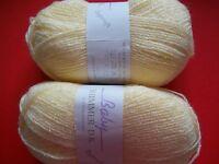 James C. Brett Baby Shimmer Dk Pompadour Yarn, Yellow, Lot Of 2 (307 Yds Ea)