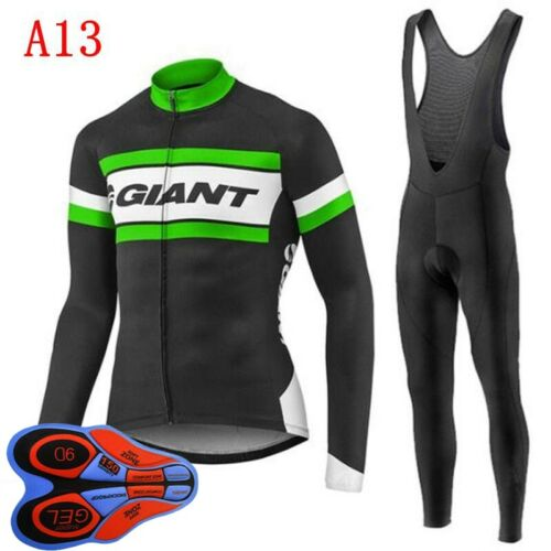 2020 New Mens Bike Team Cycling Jersey Cycling Long Sleeve Jersey Bib Pants Set