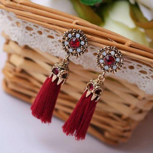 CRYSTAL ANTIQUE GOLD RED TASSLE EARRINGS XMAS LADIES GIFT  *UK SELLER* G003