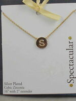 Macy's Goldtone Silver Plated Cubic Zirconia Initial S Spectacular Disc Necklace