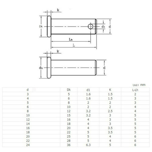Clevis Pins G304 Stainless Steel Diam 3mm 4mm 5mm T TYPE For Machine Repair
