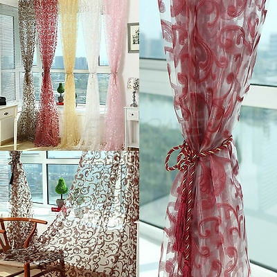 Vogue Floral Drape Panel Sheer Scarf Valance Tulle Voile Door Window Curtain AU