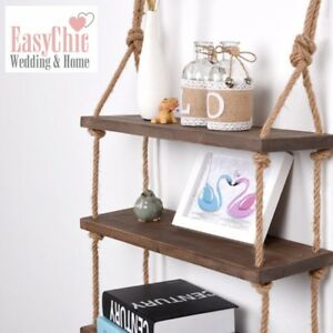 huge discount 9edbd 989eb Details about Solid Wood Wall Shelf Storage Floating Wall Shelf Rustic  Industrial Rope Shelf