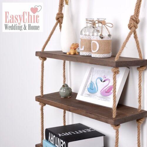 Solid Wood Wall Shelf Storage Floating Wall Shelf Rustic Industrial Rope Shelf