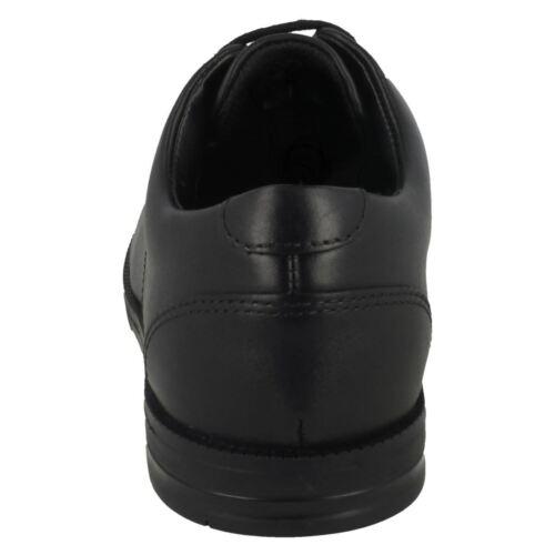 Cordones Zapatos De Edge Clarks Rufus Acampanado Cuero ' Colegio Negro Niños BW8za0nW