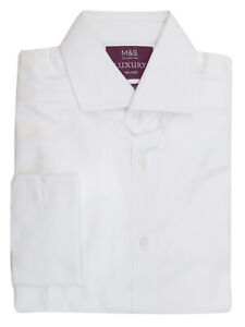 M-amp-S-WHITE-Mens-Pure-Cotton-Tailored-Fit-Double-Cuff-Long-Sleeve-Luxury-Shirt