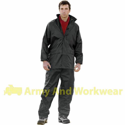 Adults Waterproof Rain Suit Jacket /& Trousers Set Womens Mens Ladies Rain Coat