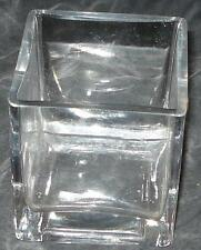 Nice Cube Style Solid Glass Vase - VGC - PRETTY PIECE - GREAT AS PLANTER TOO