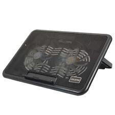 """12-15"""" Laptop PC USB Blue LED 2 Big Fan Cooler Cooling Adjust Stand Pad Black"""