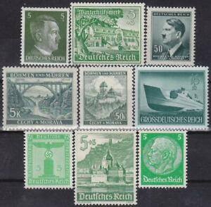 Third-Reich-9-MNH-Nazi-Swastika-Hitler-Stamps-Combined-Shipping