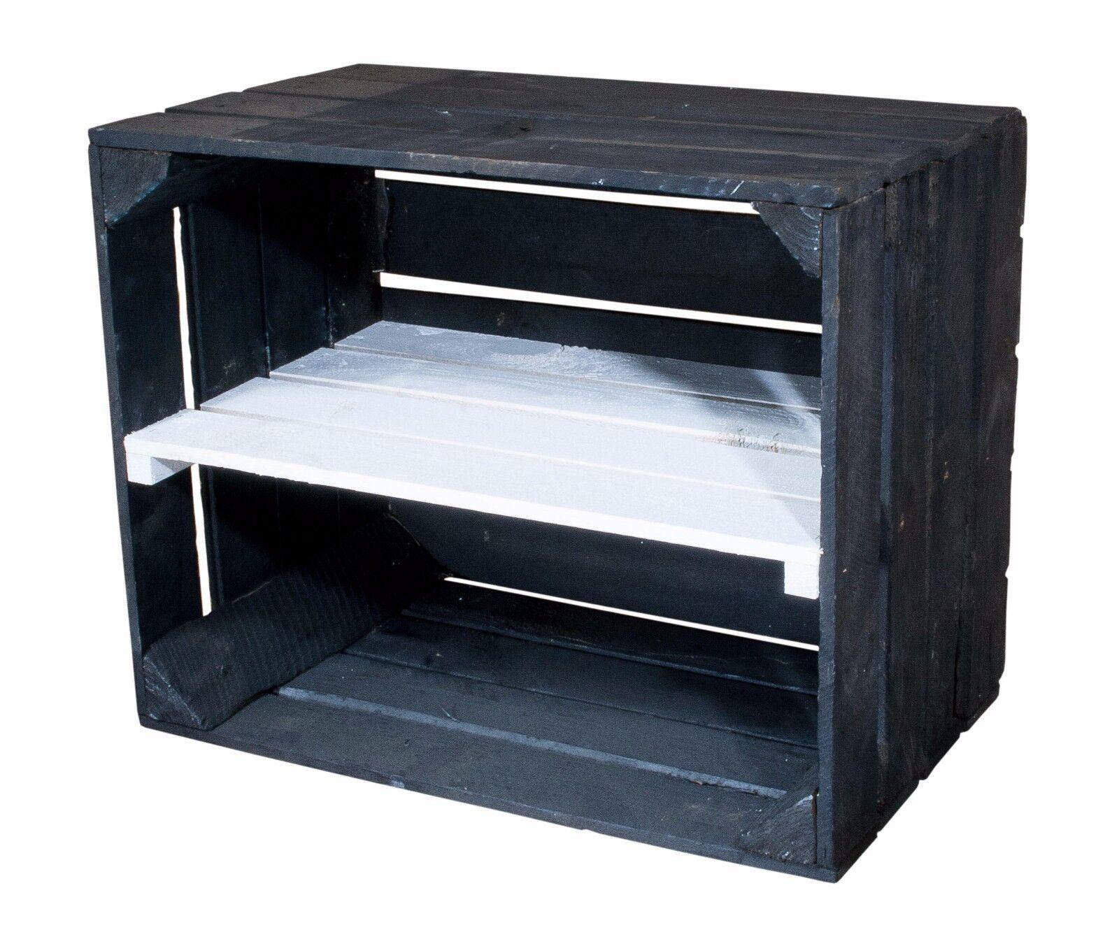 4er Set schwarze Holzkiste Regalkiste mit weißem Mittelbrett  längs   50x40x30cm