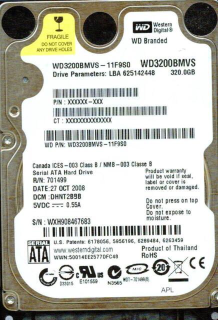 WD3200BMVS-11F9S0,  DHNT2BBB  WESTERN DIGITAL SATA 320GB   WXH9