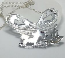 Fairy Bow Necklace Silver Colour Mirror Acrylic Laser Cut Pendant On Chain