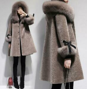 Womens-Shearling-Lamb-Fur-Coat-Warm-Fur-Hooded-Winter-Jacket-Warm-Outwear-New