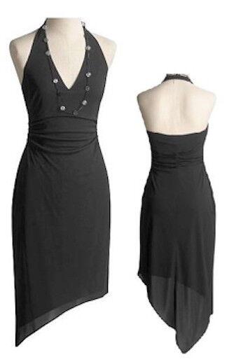 NWT David Meister schwarz Jersey Asymmetric Hem Halter Dress 2