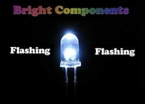 6000mcd 5 X Blanco Intermitente LED 3mm-Ultra Brillante 1st Class Post - UK