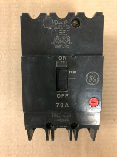 General Electric GE TEY TEY370 3 Pole 480//277V 70 amp Circuit Breaker