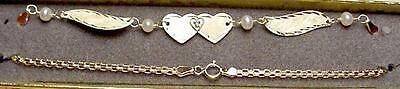 free Shipping! Practical New 14kt Solid Gold W/dia Heart Winged Anklet Fine Jewelry Jewelry & Watches