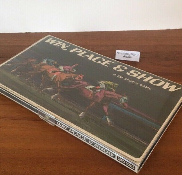 WIN PLACE PLACE PLACE SHOW 3M Sports HORSE RACE BETTING GAME VTG. 1966 - 100% Complete CLEAN 950db6