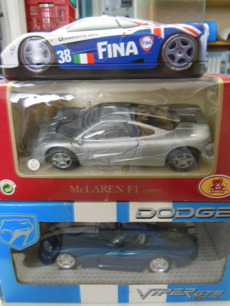 Tres rare mclaren f1 y Dodge Viper GTS modelos en 1 24 nuevo embalaje original