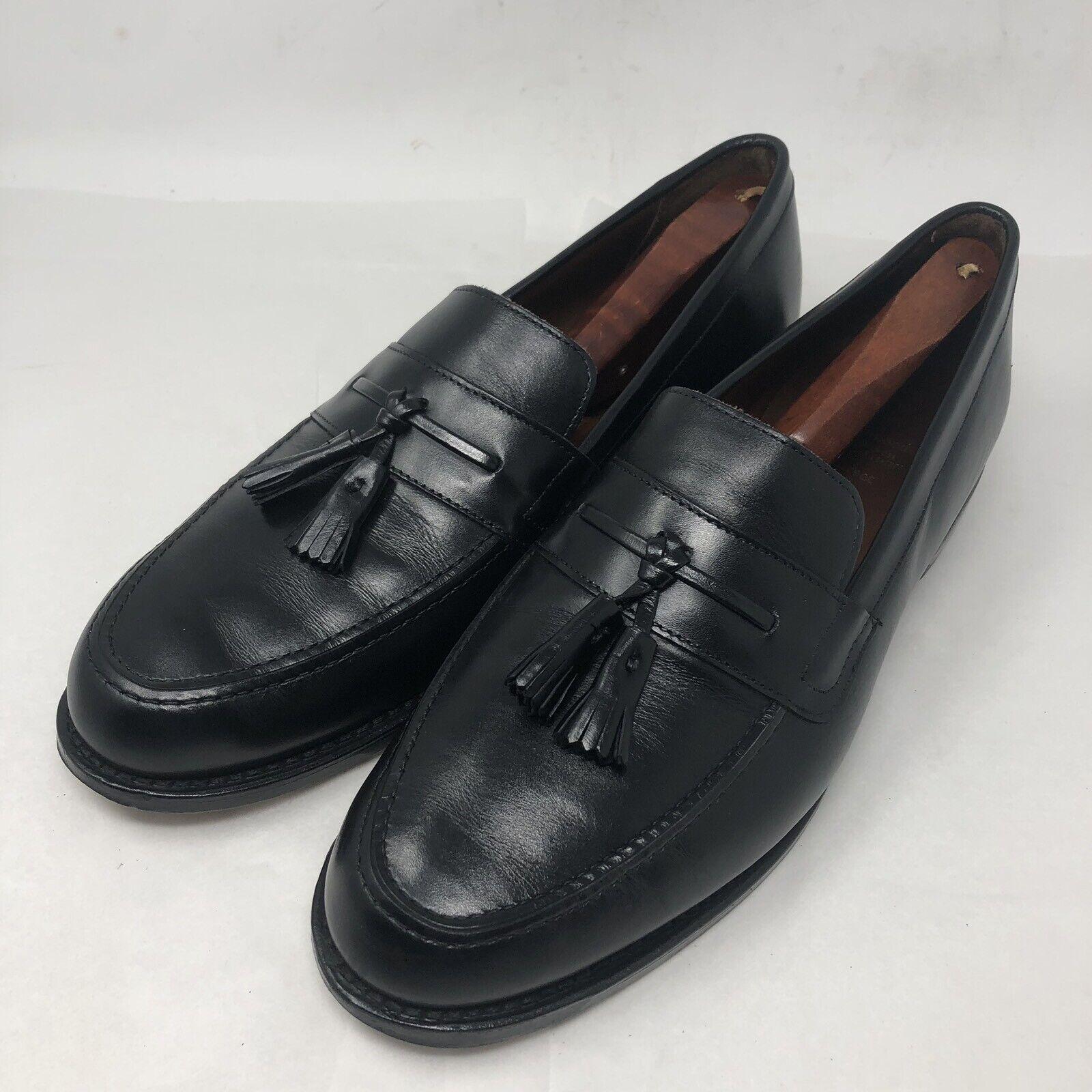 ALLEN EDMONDS Hyde Street Mens Black Leather Tassel Loafers Size 12D