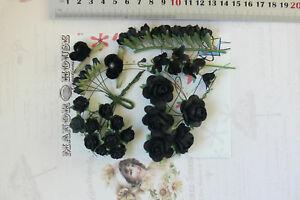 BLACK-amp-GREEN-Mix-24-Paper-Roses-amp-Velvet-Flowers-7-Styles-5-33mm-across-VD5