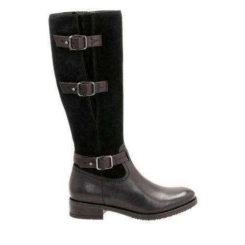 Clarks Negro Cuero  TAMRO Marina  señoras rodilla alta botas de montar 3 35.5, 4 37 D