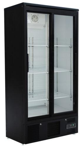 Flaschenkühlschrank mit 2 Glas-Schiebetüren Getränkekühlschrank Gastro