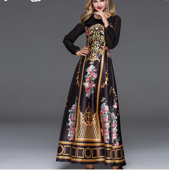 Femme noble à hommeches longues birtish Imprimé Motif Taille Plus Vintage robe longue