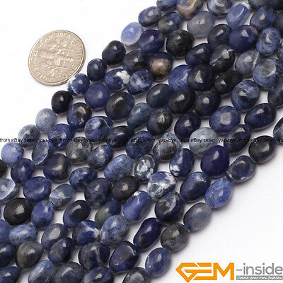 "6x8mm Freeform Nugget Gemstone Loose Beads For Jewelry Making In Bulk 15""  YB"