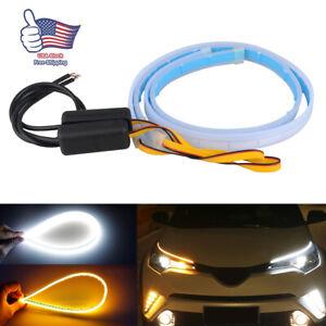 2x-60CM-LED-DRL-Light-Slim-Amber-Sequential-Flexible-Turn-Signal-Strip-Headlight
