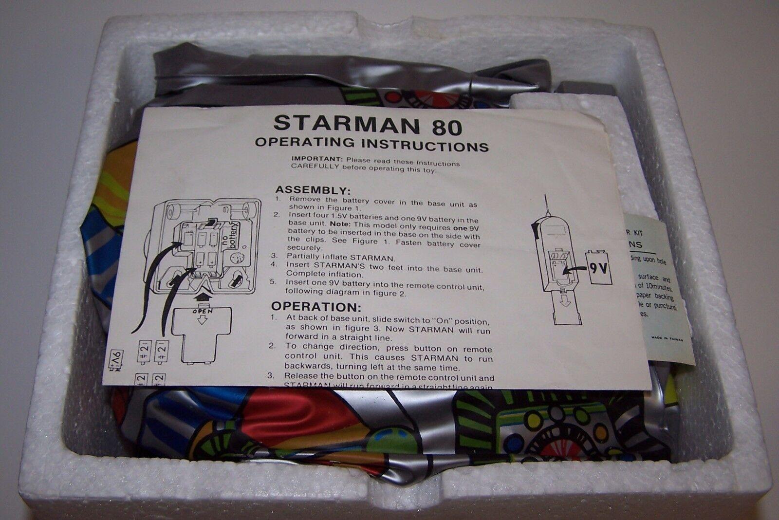 Starman 80 Electronic Electronic Electronic Remote Controlled Blow Up Robot 3.5 Feet Tall 1979 NIB 960564