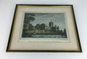 Vintage-Framed-Engraved-St-Albans-Abbey-Hertfordshire-South-West-View