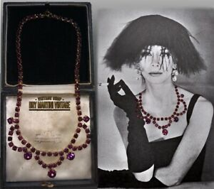 VINTAGE-1950s-AMETHYST-RHINESTONE-CRYSTAL-SWAG-NECKLACE-BRIDAL-BEAUTIFUL-GIFT