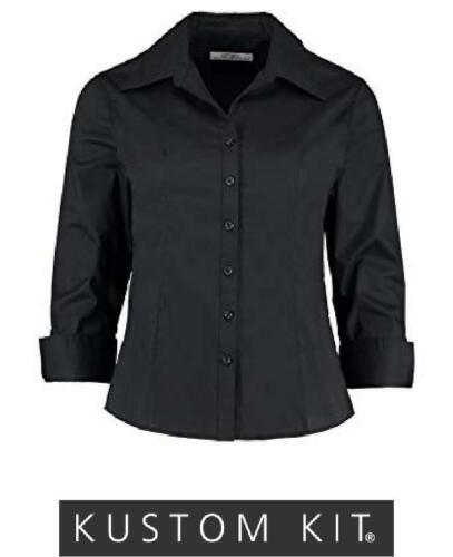 Womens 3//4 Sleeve Black Blouse Ladies Shirt Kustom Kit KK745 CLEARENCE