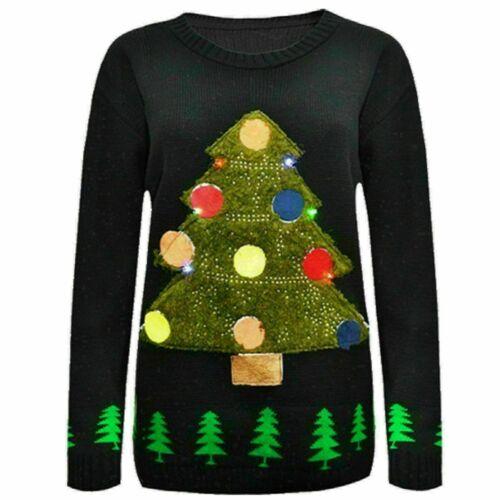 Women Unisex 3D Christmas Tree Jumper Ladies LED Flashing Lights XMAS Sweater UK