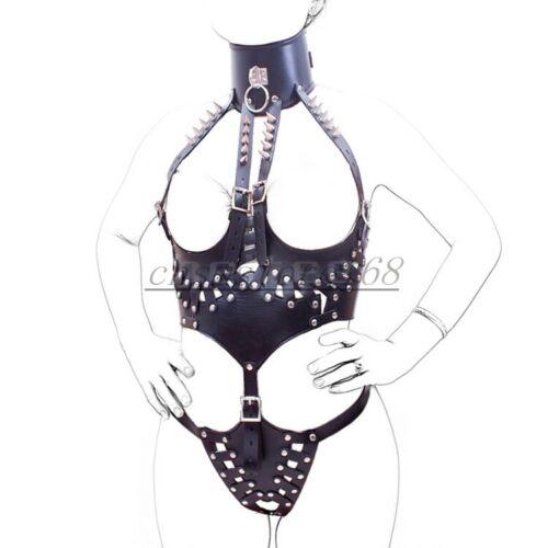 PU Leather Bondage Harness Female Chastity Belt Spike Body Restraints Suit Black
