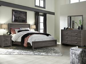 NEW Gray 4PC Queen King Bedroom Set Modern Rustic Brown Furniture Bed/D/M/N
