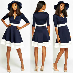 Womens-Party-Mono-Black-Navy-White-Skater-Cap-Sleeve-V-Neck-Midi-Short-New-Dress