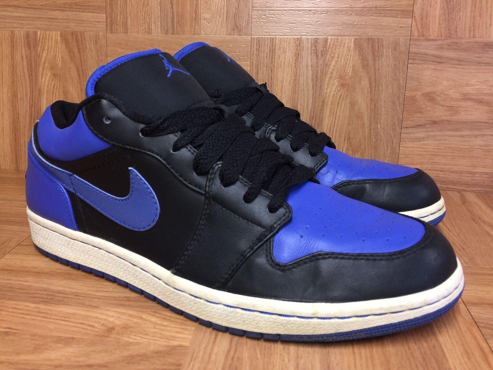RARE Nike Air Jordan 1 Low Phat Black Varsity Royal Leather Sz 10.5 338145-041