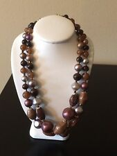 Vintage Unmarked Purple Multicolored Chunky Beaded Double Strand Hook Necklace
