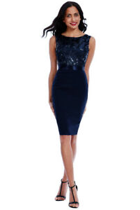 e9850b4a21 Details about Navy Sexy Sequin Embellished Floral Detail Bodycon Midi  Knee-Length Party Dress